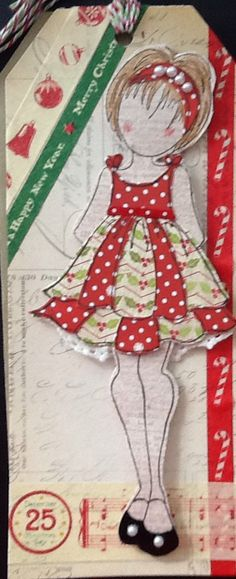 Holiday Doll Card - [using Prima Doll Stamp]  Wendy Schultz - Christmas Cards.