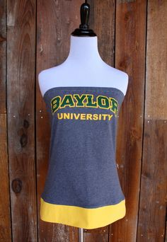 Baylor Bears BU Yellow and Green Game Day Strapless Shirt - Size Small. $32.00, via Etsy.