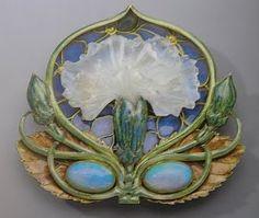 René Lalique - Carnation Brooch - 1900-02 books, fan art, jewelri book, brooches, artnouveau, nouveau jewelri, opals, art nouveau, enamels