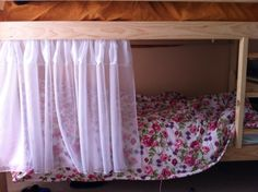 Curtains for the bottom bunk. Made out of voile. Could use mosquito netting for safari theme room