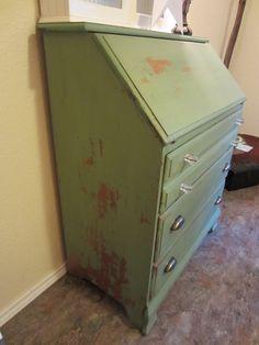 another view of the desk, MMS luckett green milk paint.