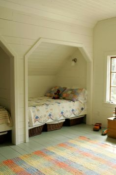 Good idea for a small space or loft area in an old home, but rather than a second bed next to it, make an actual CLOSET.  Love old houses, hate the lack of closet space.