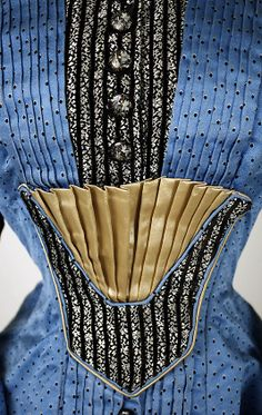 Dress Date: 1880. The bodice detail is stunning! 1880, dress detail, the dress, antiqu