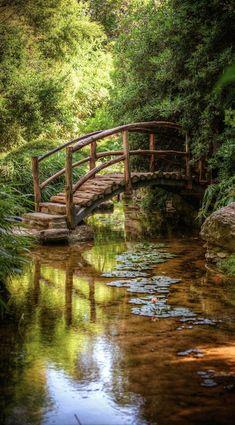 Isamu Taniguchi Japanese Garden's Togetsu-kyo bridge at Zilker Botanical Gardens in Austin, Texas • photo: Nicolai McCrary