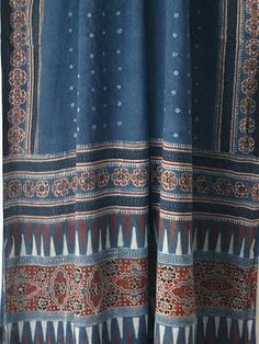 Dr. Ismael's Ajrakh indigo and madder scarf  - SALLY CAMPBELL TEXTILES
