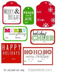 Printable Christmas Gift Tags {to: you from:TinySidekick} #printable #christmas #christmaspacakaging