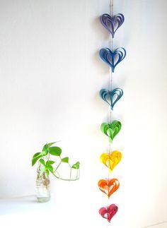 Rainbow Wedding Garland Paper hearts Wedding Banner by AntnFrog