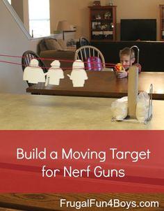 target practice, guns, kid fun, things for boys to build, move target, legos, kids, coloring sheets, nerf gun ideas