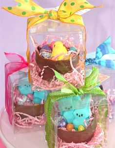 DIY Chocolate Easter Bowl ~ Cute Easter gift. Make a small chocolate bowl, fill with peeps, chicks, bunnies,  candy eggs, jelly beans, chocolate eggs and other candy. You can package them in boxes, cellophane bags or put them in a Easter basket.