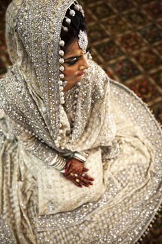 Pakistani bridal, white and silver wedding outfit