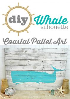 Diy Whale Silhouette Coastal Pallet Home Decor Art www.foxhollowcottage