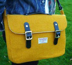 Harris Tweed Yellow Satchel/Messenger Bag by breagha on Etsy