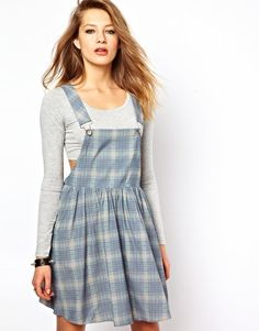 Bitching & Junkfood Dungaree Dress In Plaid