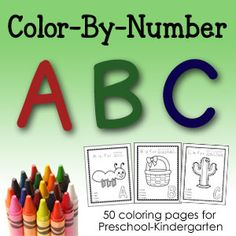 Color-By-Number ABC printable pages for Preschool/Kindergarten.  Contains 50+ printables, one upper & lowercase page for each letter of the alphabet.