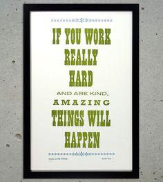 Good Work Letterpress Art Print.