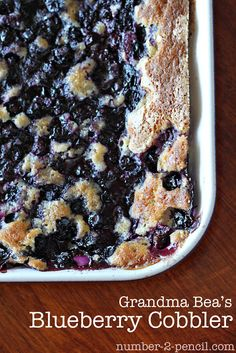 "Blueberry Cobbler...used 2 whole pints blueberries, butter instead of shortening (blended w/fingertips to get ""sandy"" texture)...took entire hr to bake...very easy and yummy."