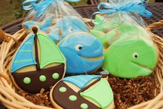 cute! maybe for a boy's baby shower boy baby showers, sailing baby shower, whales baby shower, boy shower, shower idea, baby shower cookies for boy, boy baby shower whale, babi shower, boy baby shower cookies