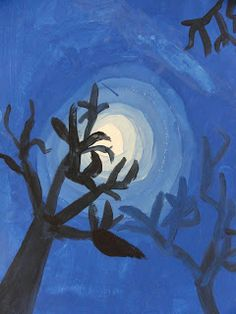 Splats, Scraps and Glue Blobs: Moon & Trees with Tints and Shades
