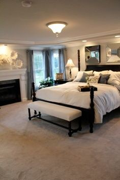 love this fireplace in master bedroom and end of bed bench