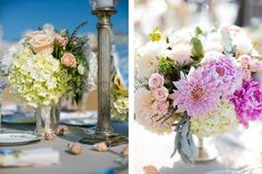Delicate flower arrangements by Butterfly Floral in peach, yellow-green, ivory, and pink tones.