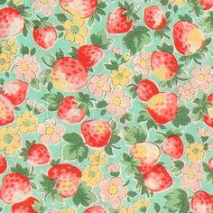1930s fabric pink strawberries