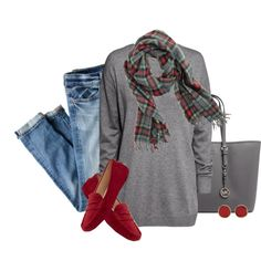"""J.Crew Plaid Wool Scarf"" by karrina-renee-krueger on Polyvore"