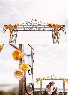 paper flower wedding alter