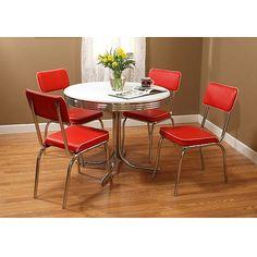 Retro 5-Piece Dining Set Bundle, Red: Furniture : Walmart.com