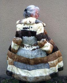 Full Length Rabbit Fur Coat in Gray, White, Black, Tan Stripes. $349.00, via Etsy.