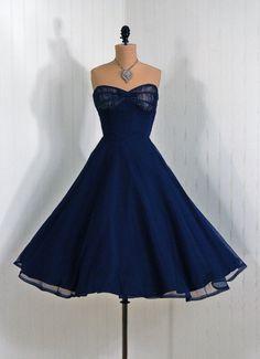 1950's Vintage Navy-Blue Illusion Strapless Shelf-Bust Bow Chiffon