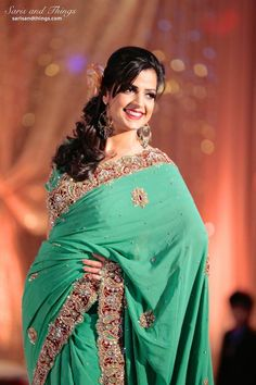 Saris and Things green sari on IndianWeddingSite.com