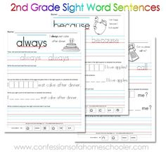 Free Second grade site word sentences.  Also has K and first grade sets. From Confessions of a Homeschooler