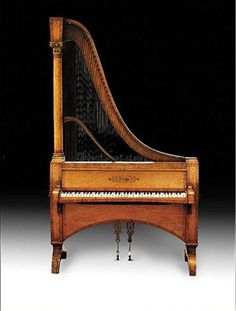 Rare harp-piano by Dietz (Austria or Germany), ca.1840. The strings are plucked as on a harp, operated through a piano keyboard