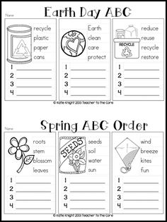 earth day, abc order, 1st grade