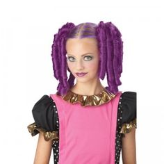 Anime Curls with Hair Mascara is a Halloween costume accessory that comes with two curly purple hair extensions and a tube of purple hair mascara.