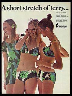 1970 sexy bikini girls photo JC Penney flower swimwear vintage print