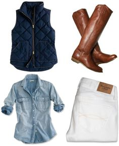 chambray button down top, navy blue puffy vest, white skinny pants and cognac knee high boots