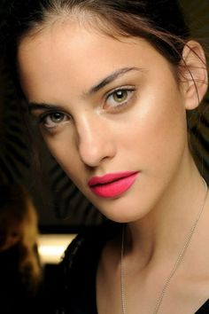 Hot pink lip and glowing skin