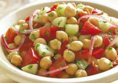 Mediterranean Chickpea Salad- , lose the cucumbers and im there
