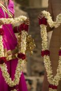 Jai Mala, also called Var Mala, is when the bride welcomes and greets her groom by putting a flower garland around his neck.