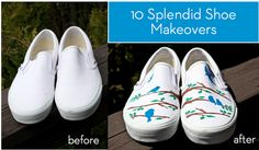 Who doesn't love to usher in springtime with a new pair of fun shoes? Although these shoes looknew, not all of them are. Some are from the thrift store, others are well-loved kicks that needed TLC, whereas others just needed a little 'something' to make them shine. The techniques used to transform them are easily reproduced, thanks to the accompanying tutorials.