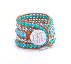 Monogrammed Beaded Cuff Bracelet