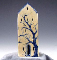 Little stoneware hand painted tree house