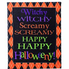 "Canvas Witchy Scary Word Sign Halloween Decoration Set of 2 Material: Canvas Size: 10"" Color: Orange, black, purple, green Canvas prints - two assorted styles, more images coming."