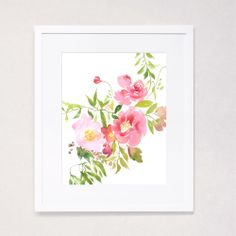 Julie Song Ink Image of Peony Watercolor Bouquet Art Print
