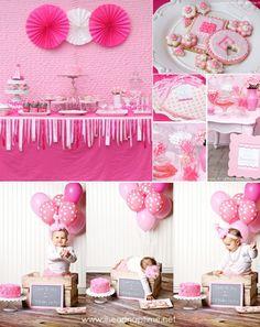 Pretty in Pink 1st birthday party full of ideas via Kara's Party Ideas KarasPartyIdeas.com
