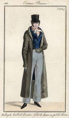 Costume Parisien 1818. Regency fashion plate. aparece el pantalon con algun pliegue que inicia el que conocemos actualmente