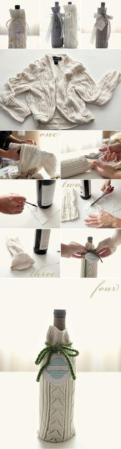 DIY Sweater wine holder!