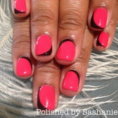 Love this idea! Interesting pink and black nail design