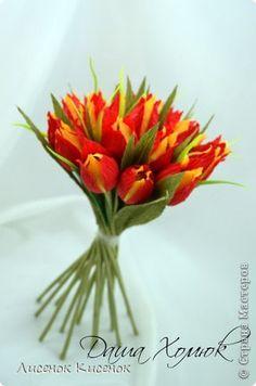 Тюльпаны с конфетами своими руками из гофрированной бумаги своими руками